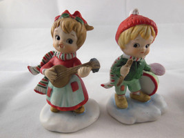 Vintage Lefton Christmas Girl & Boy Figurines with musical instruments 3... - $29.69