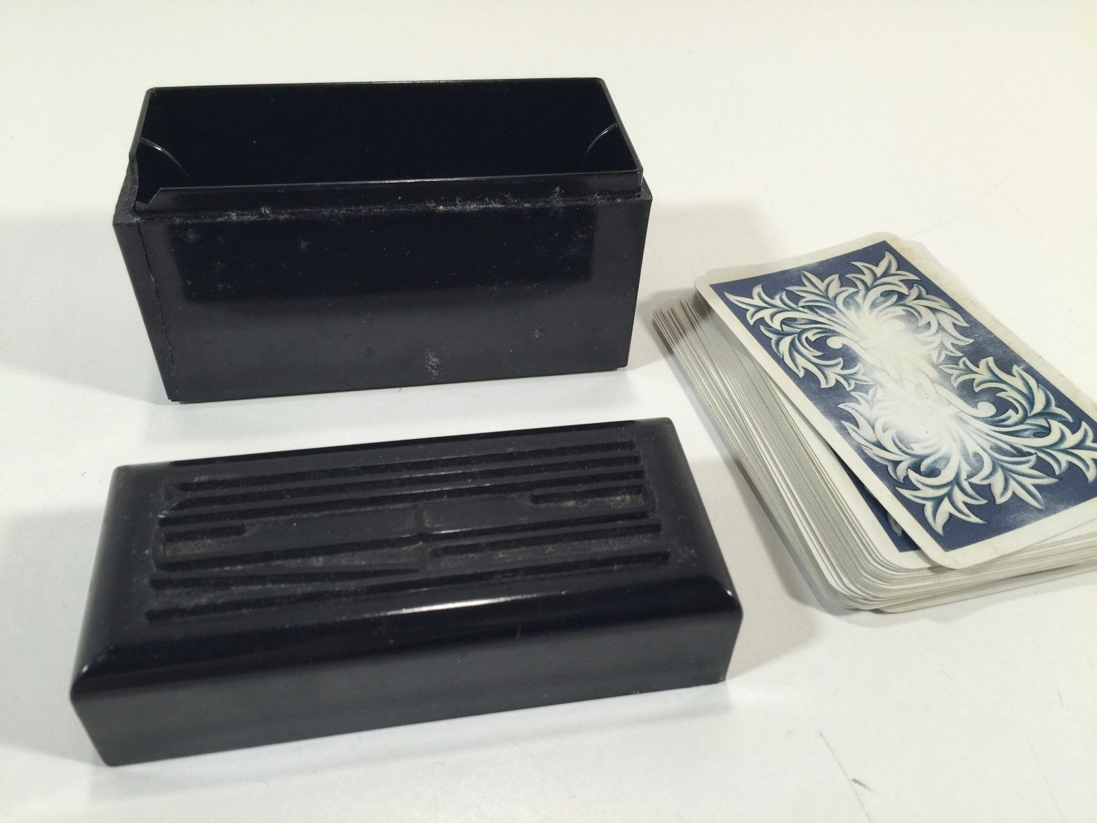 Vintage KEM Bakelite Double Playing Card Deck Case With Chip in Corner