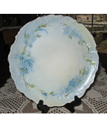 Hand painted Scalloped Plate-Blue & White Flowers/Green Stems-Gold Trim-... - $12.00