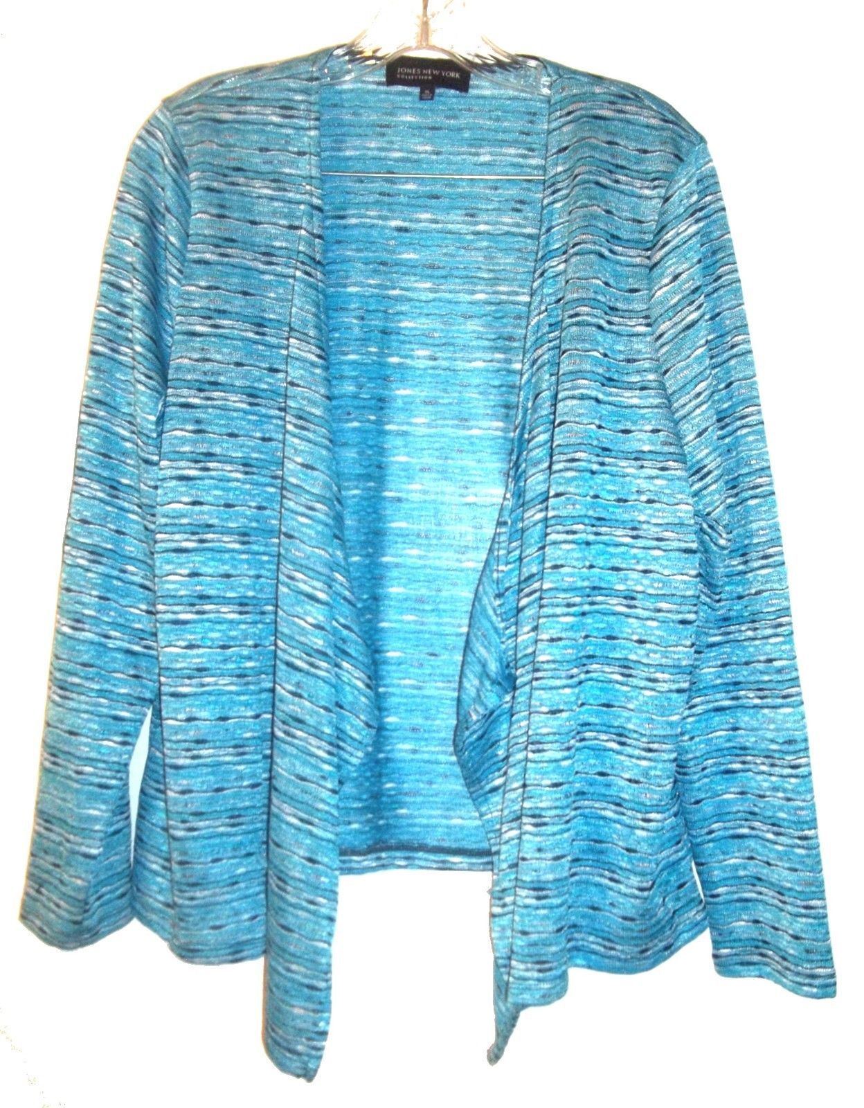 Primary image for Size XL - Jones NY Blue Striped Lightweight Long Sleeve Open Jacket Sweater