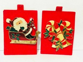 Vtg 1980 Christmas Brooch Lot of 2 - Santa in Sleigh + Candy Canes Broach - $6.93