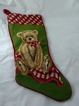 """Needlepoint stocking Teddy Bear Christmas velvet back 18"""" Very Nice - $23.75"""