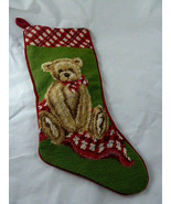 "Needlepoint stocking Teddy Bear Christmas velvet back 18"" Very Nice - $23.75"