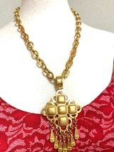 Vintage CHANEL golden ethnic design necklace with gold tone square faux pearls a - $782.00