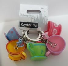 Disney Parks Mad Tea Party Ride Teacups  Keychain Key Chain Set of 5 - $19.79