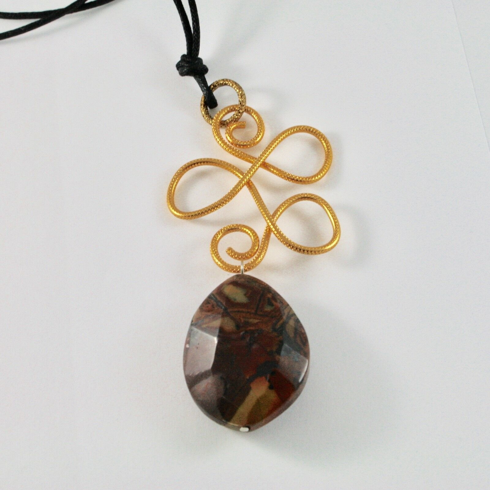 Pendant Aluminum With Jasper And Cord Waxed Black