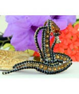 Snake cobra brooch amber black rhinestones lilien czech figural large thumbtall