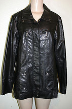 LANE BRYANT Size 14/16 Black Faux Leather Vegan Concealed Zip Modern MOT... - $34.64