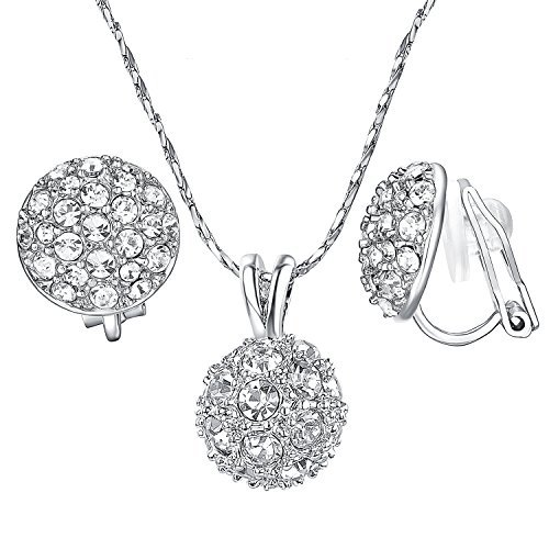 Yoursfs Bridesmaid Jewelry Set Round Sparkly Cluster Rhinestone Disc Ball Clip o