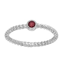 925 Silver Solitaire Stackable Garnet Engagement Ring Stacking Twisted R... - $10.88