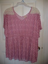 Faded Glory Women's Plus Cinch Waist Top Pink Print Size 16W 1X NEW - $14.84