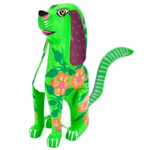 "Handmade Alebrijes Oaxacan Copal Wood Carving Folk Art Hound Dog Puppy 5"" Figure image 2"