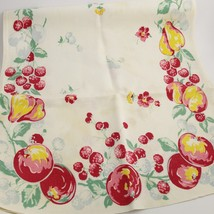 "15"" X 31""  VINTAGE FLORAL FRUIT LINEN TEA TOWEL 30's 40's PEAR CHERRIES ... - $25.00"