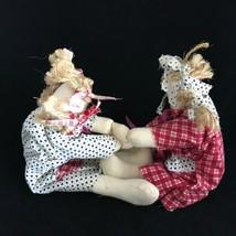 Vintage Cloth Rag Dolls Two Girls Playing Dancing Handmade Folk Art Prim... - $56.00