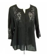 AVENUE Plus Size 18W 20W Airy Cotton Embroidery Tunic Button-Down Top - $12.99