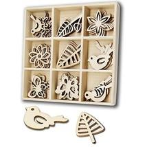 YuQi 45 Pcs Wood Embellishments Laser Cut Birds and Butterfly Ornaments ... - $13.52