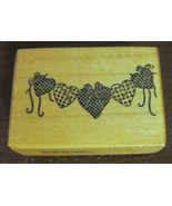 Hearts PSX Rubber Stamp 1986 Retired Rare Wall Hanging Bows Decoration Love - $5.93
