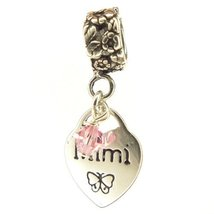 Mimi Heart Pink Crystal October Birthstone Small Sterling Silver Dangle ... - $25.64