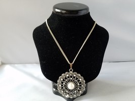 Vintage Fashion Necklace Germany Pendant Mandala Round Costume Jewelry 1... - $16.73