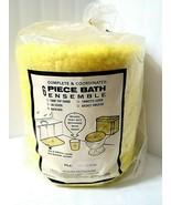 Vtg NOS Yellow Bathroom Plush 6 Pc Set Toilet Covers Rug Wastebasket + C... - $64.30