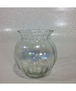 Vintage Clear Iridescent Carnival Ribbed Glass Decorative Bowl  - $69.29