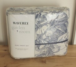 NOS Waverly Garden Room Blue Toile Stripe Lapis Cotton Blend King Sheet Set - $199.95
