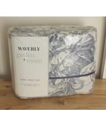 NOS Waverly Garden Room Blue Toile Stripe Lapis Cotton Blend King Sheet Set - $199.95