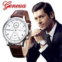 Relojes 2017 New Fashion Geneva Watch Men Faux Leather Wristwatches For Men Casu - $14.99