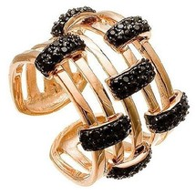 Rose Sterling Silver & Black Cubic Zirconia CZ ADJ Layered Cuff Ring-15MM - $117.81
