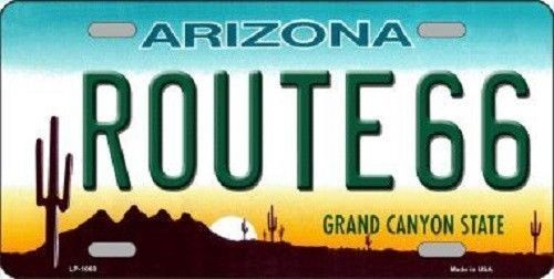 Route 66 Arizona License Plate Novelty Metal State Background  Auto Tag Sign New