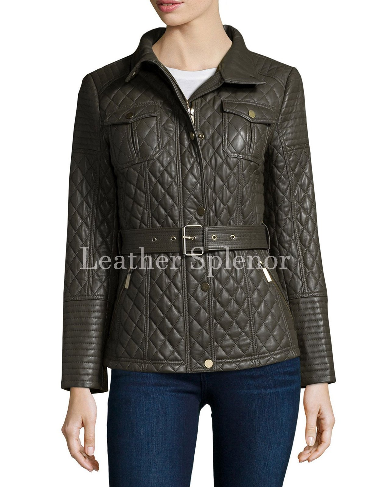 Quilted Trendy Women Leather Coat