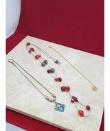 Set of 3 Necklaces - One Long Red, One Blue (some tarnish), One Butterfly - $9.99