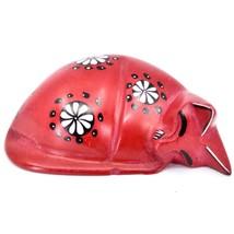 Tabaka Chigware Hand Carved Kisii Soapstone Red w Flower Sleeping Cat Figure image 1