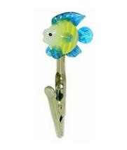 Glass Angel Fish Roach Clip Handblown Cigarette Card Holder Alligator Cl... - $14.99