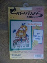 "CAT-A-TUDES ""birdies welcome"" Counted Cross Stitch Kit NIP Frame - $4.94"