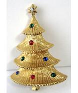 Christmas Tree Pin Holiday Brooch 1950s Figural Multi Colored Rhinestone... - $28.00
