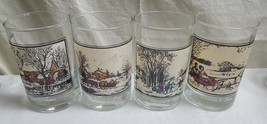 """1981 Set of 4 Currier & Ives Arby's Winter 4.5"""" Collector Series Glasses... - $21.56"""
