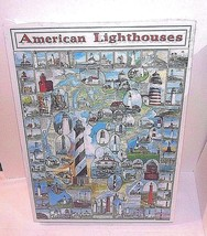 American Lighthouse Puzzle Drawings Lighthouses 1997 1000 Piece NEW SEAL... - $11.38