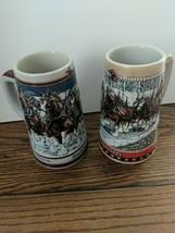 2 Budweiser Clydesdales Holiday Beer Steins Ceramarte 1988/89 A&B Series... - $34.64