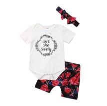 """3Pcs Toddler Girls Romper Outfits Isn""""t She Lovely Print White Short Sle... - $13.60"""