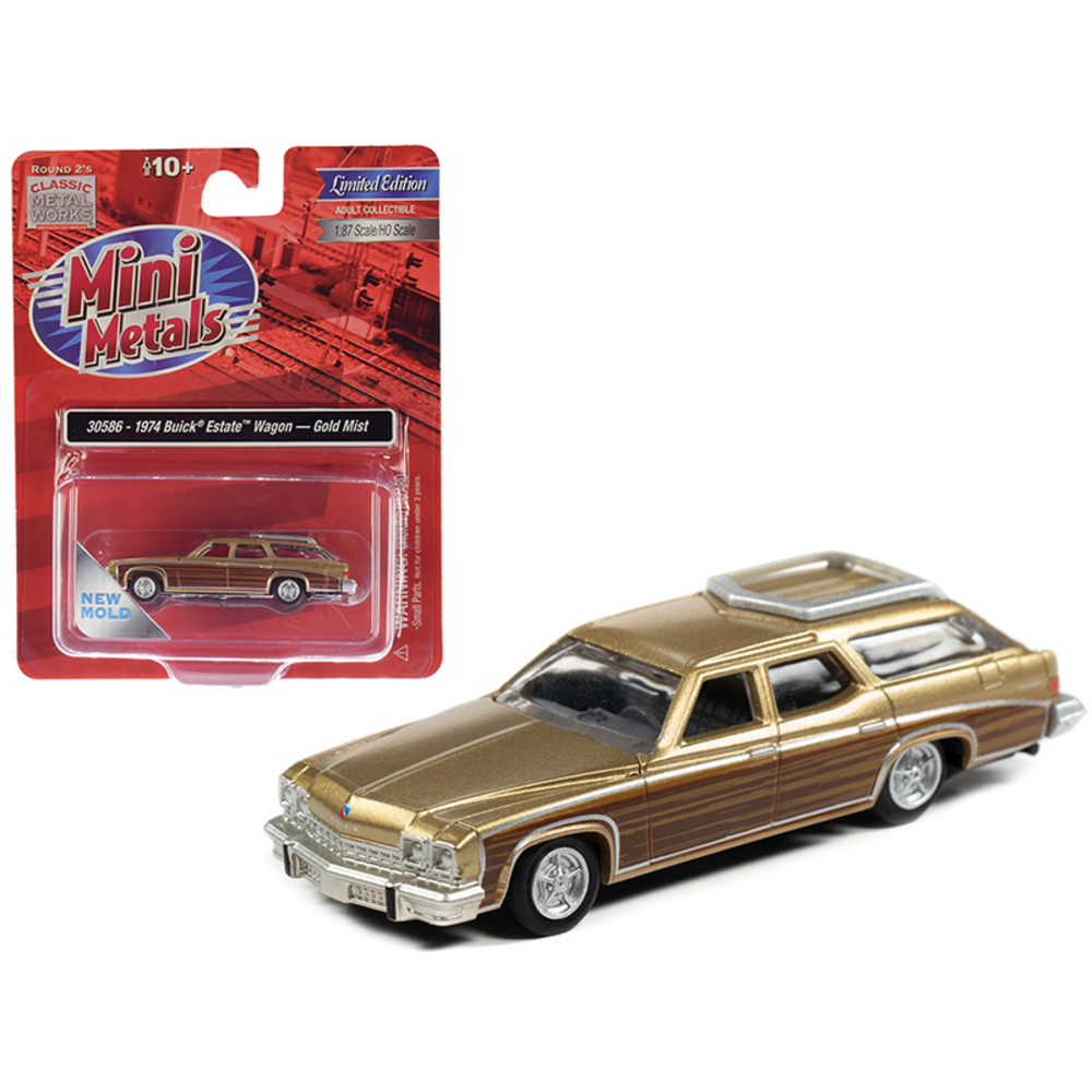Primary image for 1974 Buick Estate Wagon Gold Mist Metallic with Woodgrain Sides 1/87 (HO) Scale