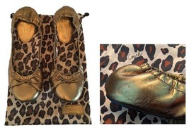 Coach Bronze Gold Leather Ballet Flats Leopard ... - $62.00