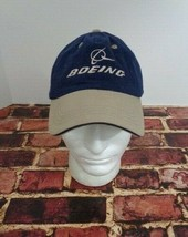 Boeing Aviation Company Blue Khaki Hat Cap One Size Fly Jet Airline - $19.59