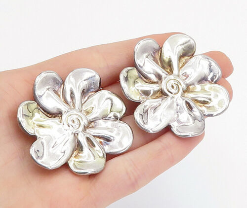 Primary image for 925 Sterling Silver - Vintage Modernist Shiny Flower Non Pierce Earrings - E9686