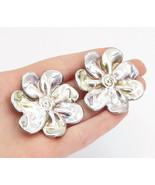 925 Sterling Silver - Vintage Modernist Shiny Flower Non Pierce Earrings... - $74.80