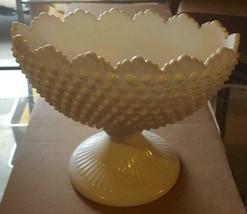 "Vintage Fenton Milk Glass Hobnail Footed 9"" Oval Bowl - Vgc - Gorgeous Design - $79.19"