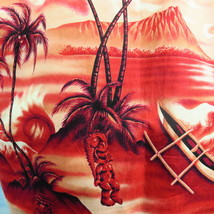 Royal Creations Mens L Red Hawaiian TIKI GODS Shirt Outrigger Diamond He... - $27.54