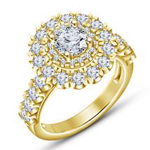 Sunflower Style Womens Diamond Engagement Ring 14k Yellow Gold Finish 925 Silver - $78.99