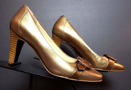 Women's Cole Haan Classic Gold Leather Buckle Pumps Sz. 6.5B MINTY! - $47.03