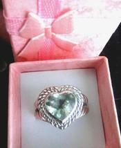 Judith Ripka Sterling Silver Prasiolite Signature Heart Ring Siz 7 Ring ... - $132.95